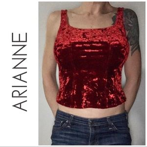 LIKE NEW Arianne Red Crushed Velvet Tank Top Large